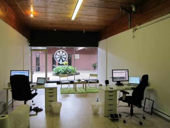 Rear view of desks