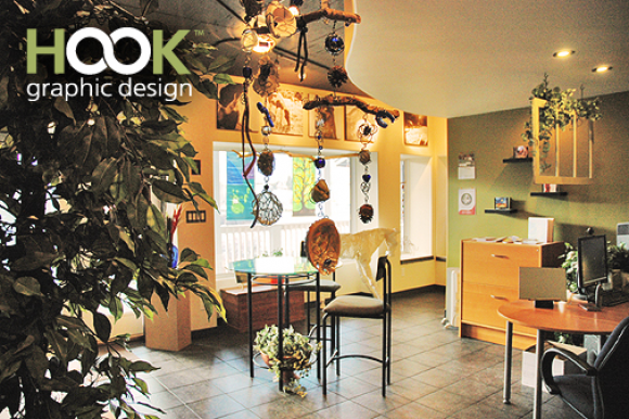 Our bright, funky office in Summerland, BC.