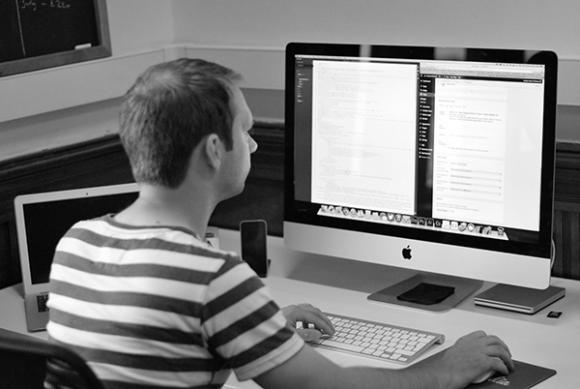 Stuart hard at work creating stunning mobile friendly websites.